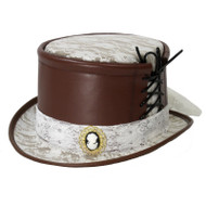 Womens Faux Leather Lace Steampunk Victorian Top Hat Brown Costume Accessory