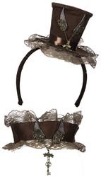 Velvet Mini Steampunk Top Hat Headband and Choker