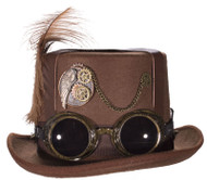 Brown Deluxe Felt Steampunk Top Hat With Straps On Crown And Goggles