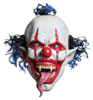 Snake Tongue Evil Clown Mask with Blue Brown hair on top and back overhead latex mask