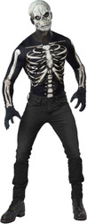 Skeleton Shirt and Mask Adult Mens Instant Costume M/L