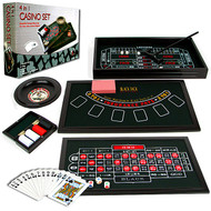 DELUXE 4 IN 1 CASINO TABLE GAME SET