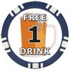 1 FREE DRINK Poker Chip Button/Marker