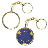 BRASS KEY CHAIN POKER CHIP HOLDERS - SET OF 5