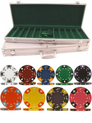 500PC TRI-COLOR ACE/KING 14GM CLAY POKER CHIP SET WITH ALUMINUM CASE