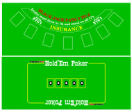 BLACKJACK  & TEXAS HOLDEM FELT LAYOUT - 2 SIDED!