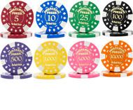 25 Gold Foil Stamped Tournament 12.5gm Poker Chips - Choose Chips!
