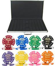 Gold Foil Stamped Tournament 12.5gm 1000 Chip Poker Set - Choose Chips!