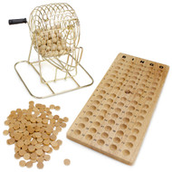 Premium Wooden Bingo Set - Brass Cage with All Natural Wood Peices!