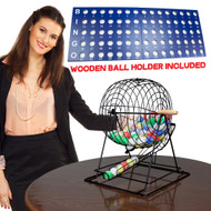 Professional Jumbo Size Deluxe Bingo Set with 19 Inch Cage & Large Balls!