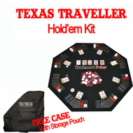 Texas Traveler Poker Table Top & Chip Combo Set - With Extras!