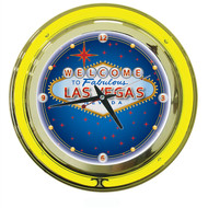 Deluxe 14 Inch Welcome to Fabulous Las Vegas Neon Wall Clock - Large 14 Inch Diameter!
