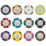 Monaco Club 13.5gm Composite Clay Poker Chip Sample Set - 12 Different Chips!