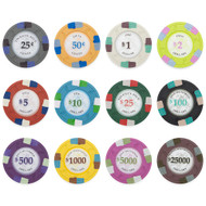 500 Poker Knights 13.5gm Bulk Clay Poker Chips - Choose Chips!
