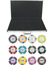 Poker Knights 13.5gm 1000 Chip Clay Poker Set with Aluminum Case - Choose Chips!