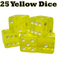 25 Translucent 16mm Casino Dice - Choose Color!