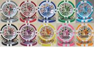 25 BEN FRANKLIN LASER 14gm Clay Poker Chips - CHOOSE!