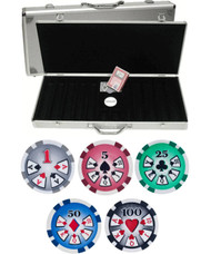 500PC HIGH ROLLER 11.5GM POKER CHIP SET WITH ALUMINUM CASE