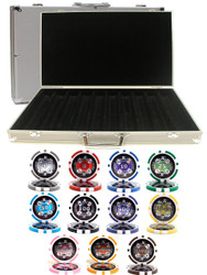 CASINO ACES LASER 14gm CLAY 1000 Chip Poker Set with Aluminum Case