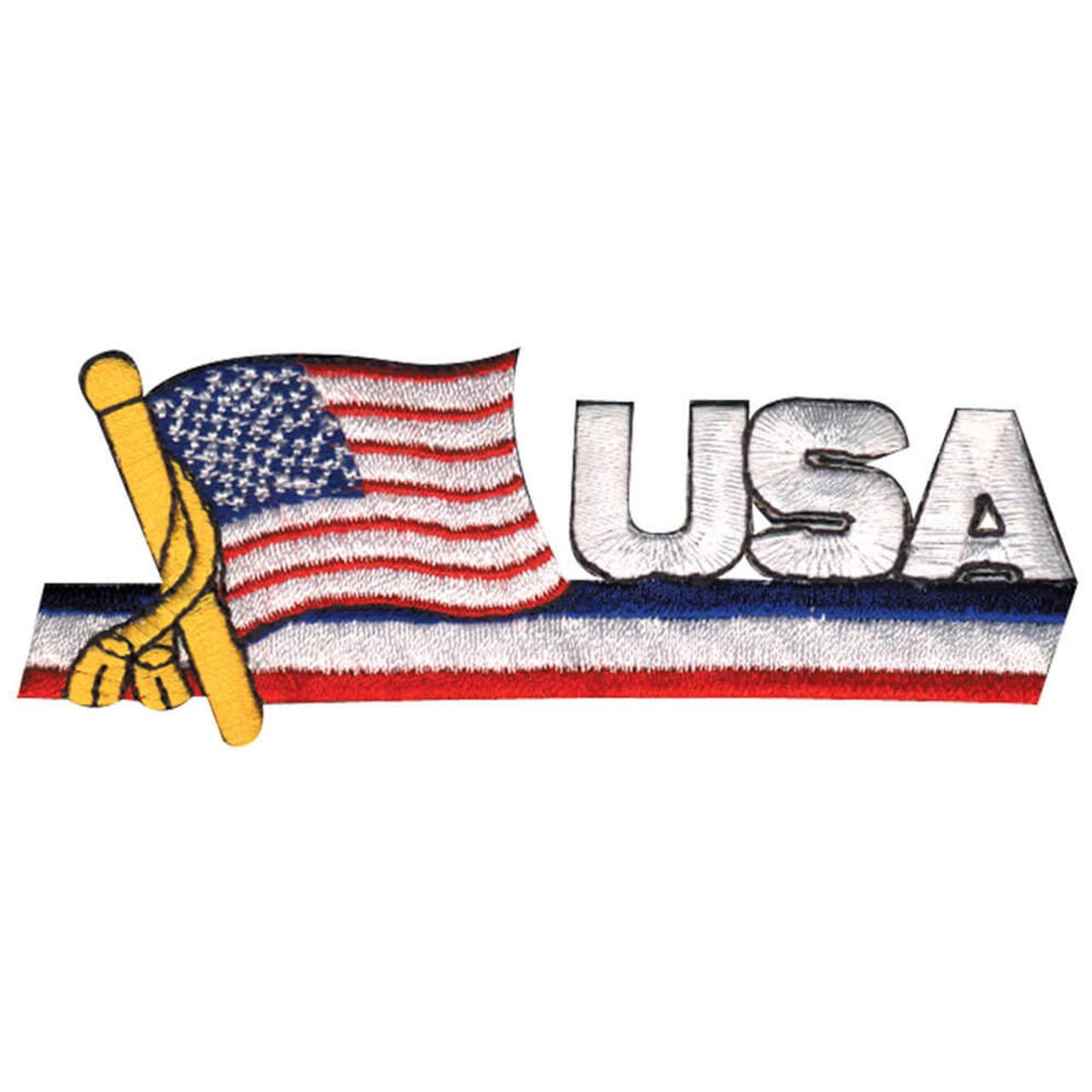 USA Patch With Flag & Pole