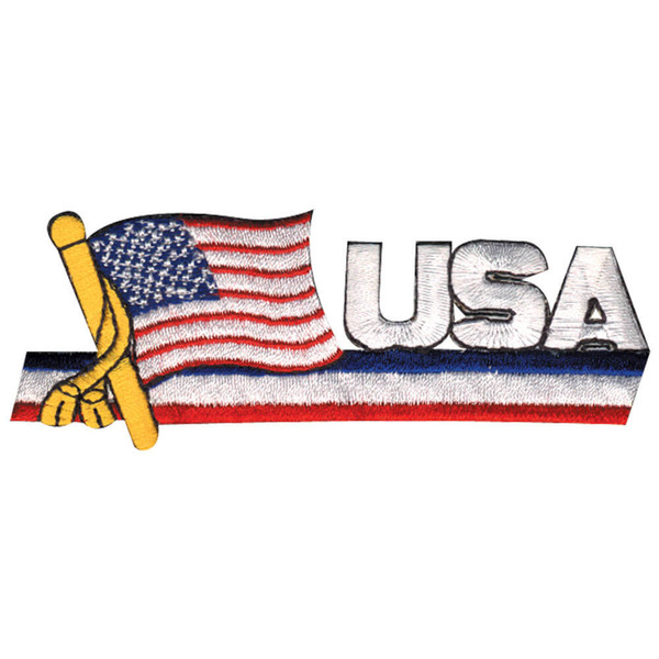 USA Patch With Flag & Pole