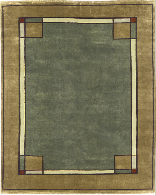 This Ginkgo Border Rug Is 100% Wool And Hand Knotted.
