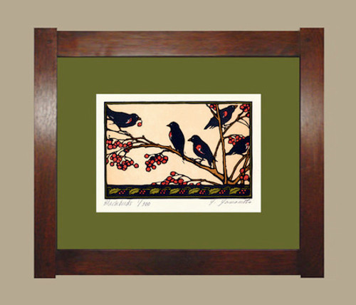 Framed Blackbirds Print