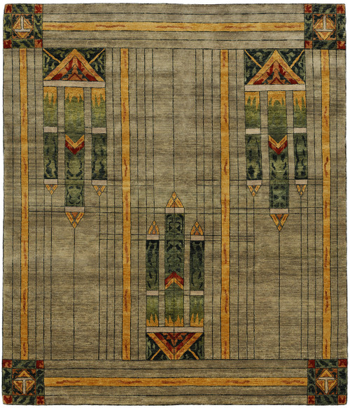 Stained Glass Green Prairie Rug PC-50A