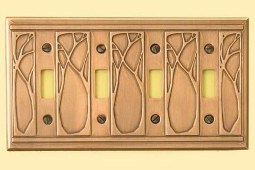 Art Nouveau Quadruple Toggle Copper Switchplate