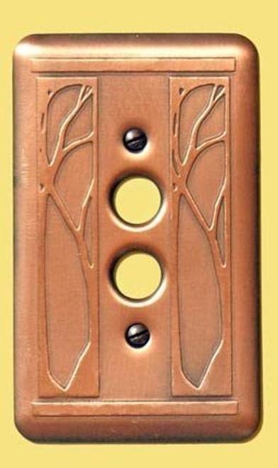 Art Nouveau Single Push Button Copper Switchplate