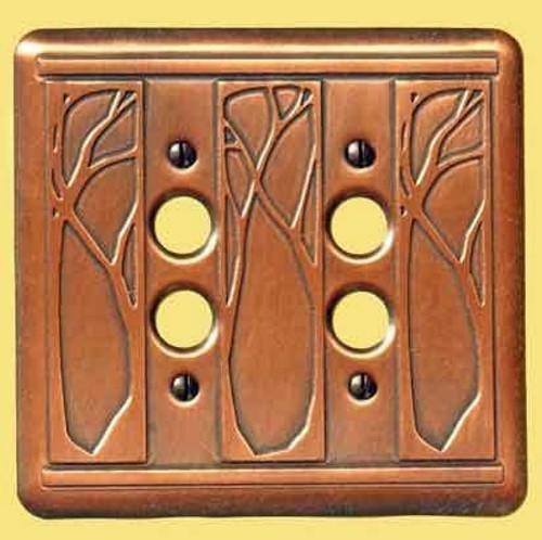 Art Nouveau Double Push Button Copper Switchplate