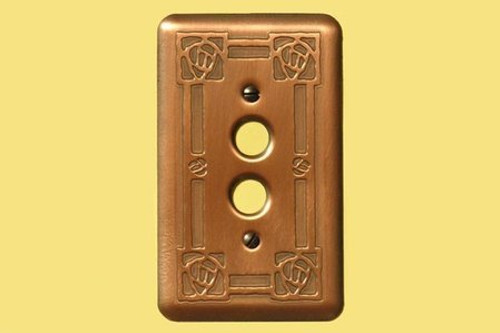 Bungalow Rose Single Push Button Copper Switchplate