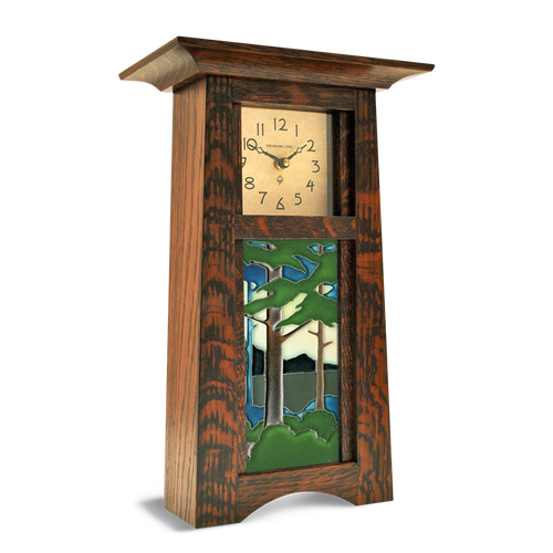 Craftsman Vertical Clock with 4x8 Landscape Tile