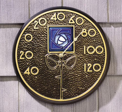 Wall Thermometer with Dard Hunter Blue Rose Motif
