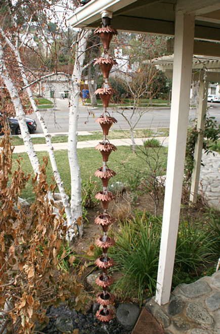 Sunflower Copper Rain Chain The Mission Motif