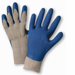 1Dozen Blue Latex Finger & Palm Coated Gray String Knit Glove