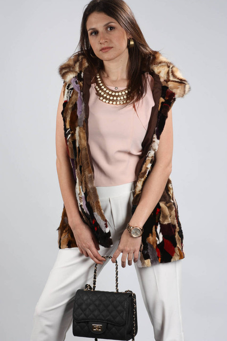 Multicolor Mink Fur Vest