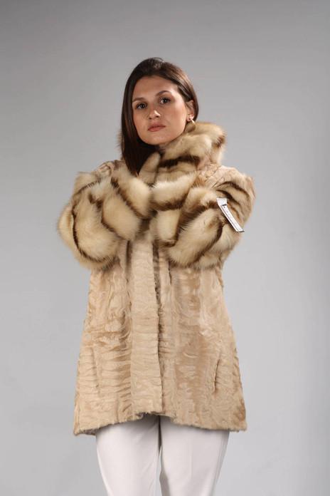 Beige Persian Lamb and Fisher   Fur Coat Cindy