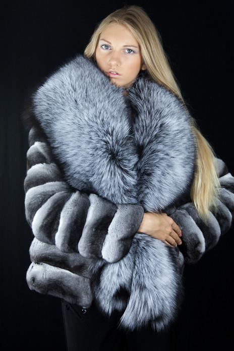 chinchilla fur jacket silver fox fur collar