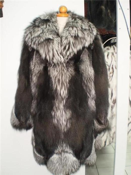 Fox Fur Coat Silver Xs to XXXL