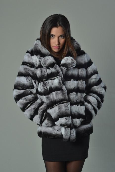 Chinchila Colored Rex Rabbit Luxury Fur Coat