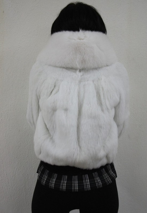 Snow White Rex Rabbit Fur Jacket Fox Collar