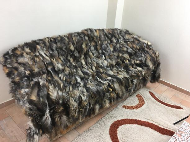 Cross fox fur blanket/throw