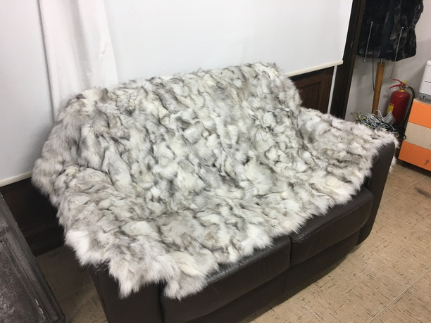 Blue fox fur blanket/throw