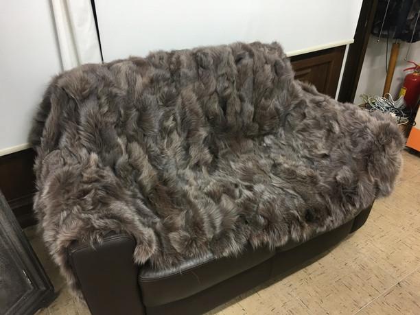 Light belly brown fox fur blanket/throw
