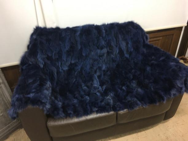 Navy blue fox fur blanket/throw