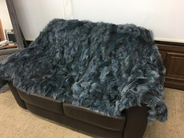 Charcoal green fox fur blanket/throw