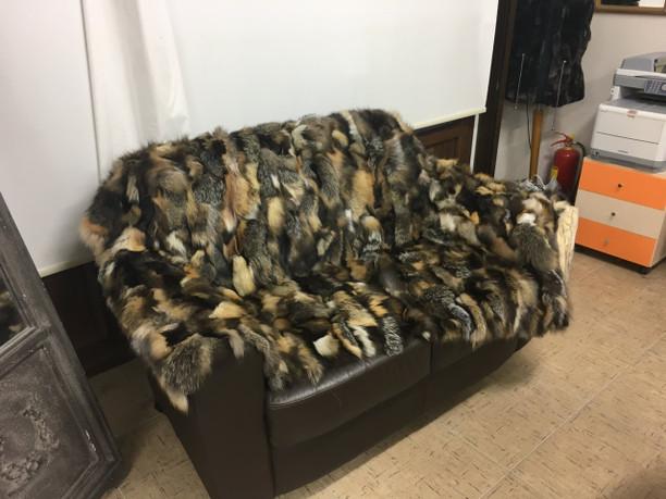 Crystal multi color fox fur blanket/throw