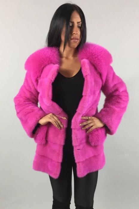 Pink Mink Fur coat With Fox  Collar