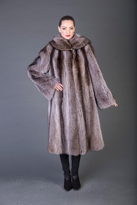 Racoon fur Coat hooded